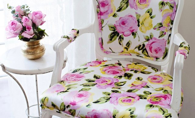 Floral Upholstery on Chair for Spring